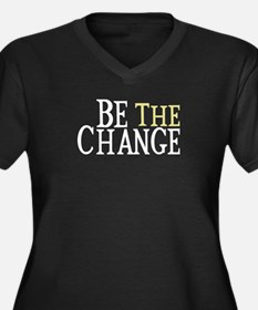 Be The Change Women's Plus Size V-Neck Dark T-Shir