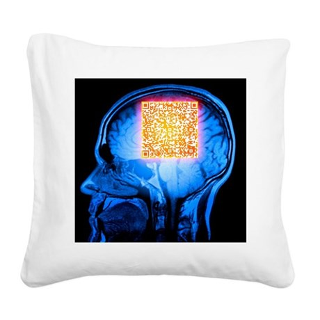 Brain MRI scan with Alzheimer's QR code - Square C