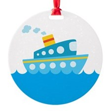 Boat in Blue Water Ornament