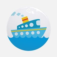 Boat in Blue Water Ornament (Round)