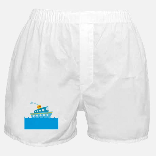 Boat in Blue Water Boxer Shorts
