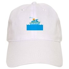 Boat in Blue Water Baseball Cap
