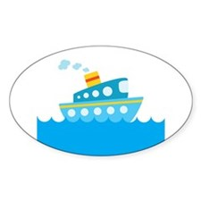 Boat in Blue Water Decal