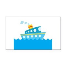 Boat in Blue Water Rectangle Car Magnet