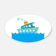 Boat in Blue Water Oval Car Magnet