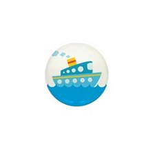 Boat in Blue Water Mini Button (10 pack)