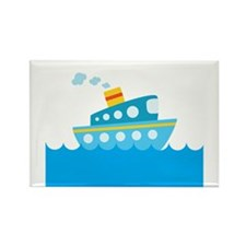 Boat in Blue Water Rectangle Magnet (10 pack)