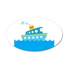 Boat in Blue Water Wall Decal