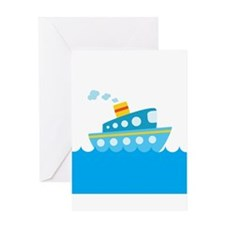 Boat in Blue Water Greeting Card
