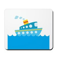 Boat in Blue Water Mousepad