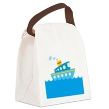 Boat in Blue Water Canvas Lunch Bag
