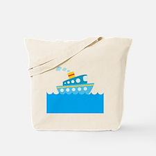 Boat in Blue Water Tote Bag