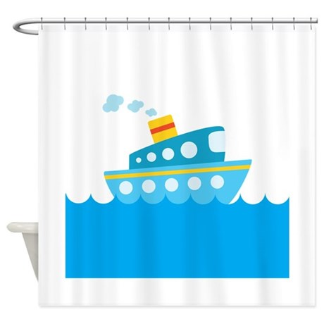 Boat in Blue Water Shower Curtain