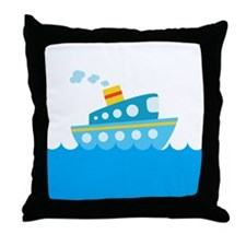 Boat in Blue Water Throw Pillow
