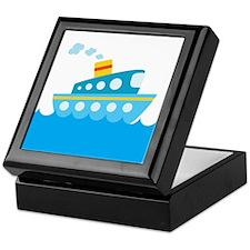 Boat in Blue Water Keepsake Box