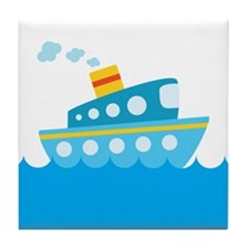 Boat in Blue Water Tile Coaster