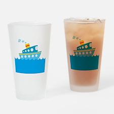 Boat in Blue Water Drinking Glass