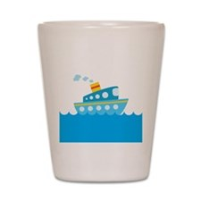 Boat in Blue Water Shot Glass