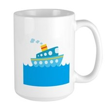 Boat in Blue Water Mug