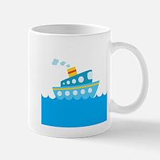 Boat in Blue Water Mug