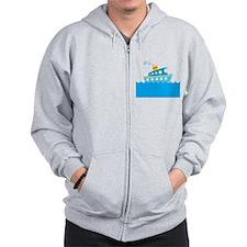 Boat in Blue Water Zip Hoodie
