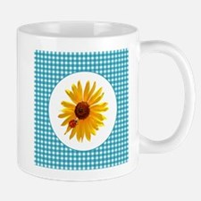 Summer Sunflower Gingham Mug