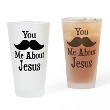Mustache Me About Jesus Drinking Glass