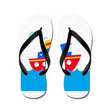 Blue and Red Boat Flip Flops