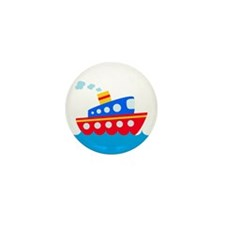 Blue and Red Boat Mini Button (10 pack)
