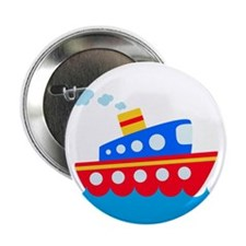 """Blue and Red Boat 2.25"""" Button"""