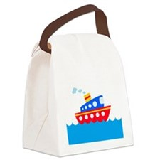 Blue and Red Boat Canvas Lunch Bag