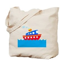Blue and Red Boat Tote Bag