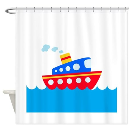 Blue And Red Boat Shower Curtain By BeachBumming