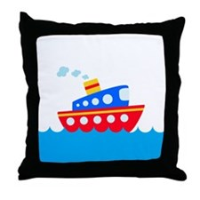 Blue and Red Boat Throw Pillow