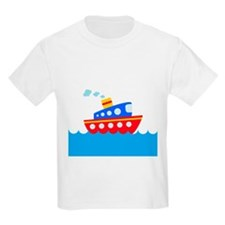Blue and Red Boat T-Shirt
