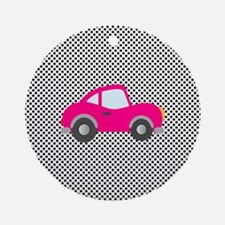 Pink Car on Black and White Dots Ornament (Round)