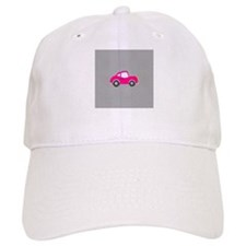 Pink Car on Black and White Dots Baseball Cap