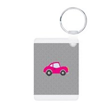 Pink Car on Black and White Dots Keychains