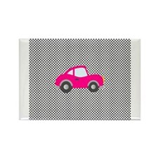 Pink Car on Black and White Dots Rectangle Magnet
