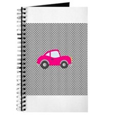 Pink Car on Black and White Dots Journal