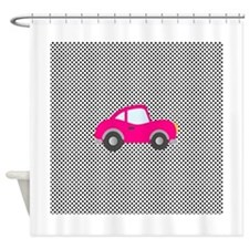 Pink Car on Black and White Dots Shower Curtain
