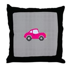 Pink Car on Black and White Dots Throw Pillow