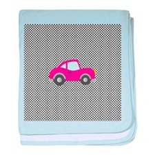 Pink Car on Black and White Dots baby blanket