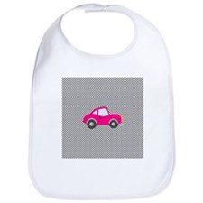 Pink Car on Black and White Dots Bib