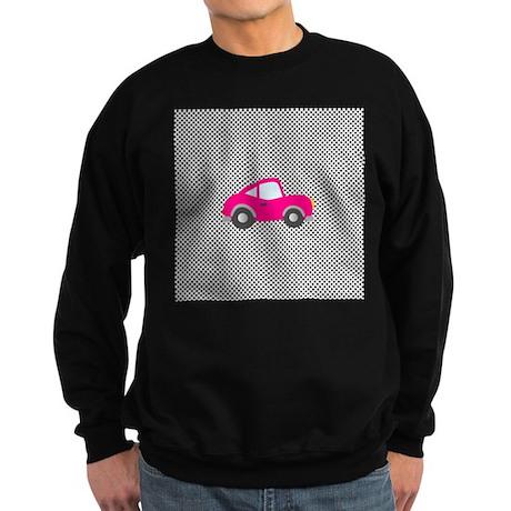 Pink Car on Black and White Dots Sweatshirt (dark)