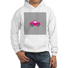 Pink Car on Black and White Dots Hoodie