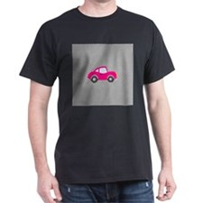 Pink Car on Black and White Dots T-Shirt