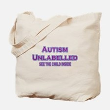 Autism Unlabelled Copperplate Purple Tote Bag