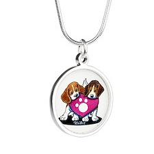 Valentine Beagle Duo Silver Round Necklace