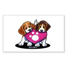 Valentine Beagle Duo Decal
